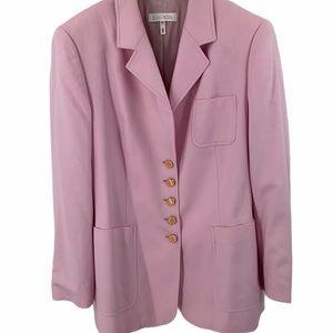 Escada angora size 14 pink classic blazer